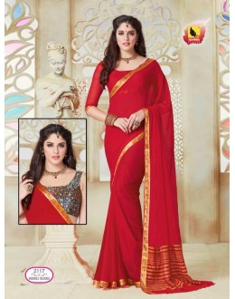 Ethnic Wear Red Chiffon Saree  - ASHIKA2117