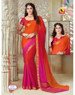 Orange & Pink Georgette Saree  - ASHIKA2120