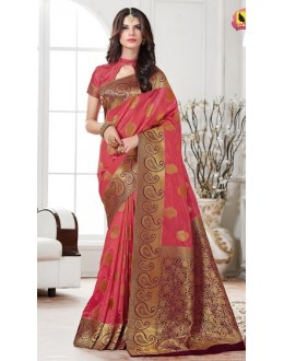 Festival Wear Pink Banarasi Silk Saree  - 2222