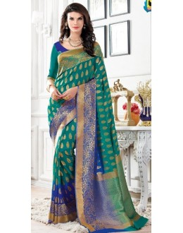 Party Wear Green & Blue Banarasi Silk Saree  - 2223