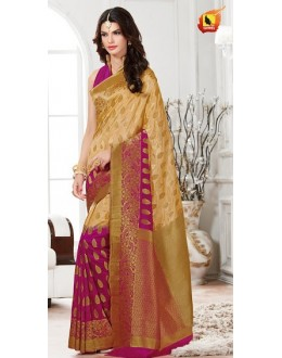 Ethnic Wear Beige & Pink Banarasi Silk Saree  - 2224