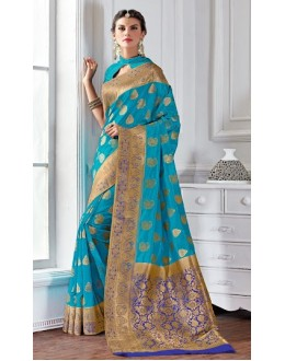 Ethnic Wear Sky Blue Banarasi Silk Saree  - 2225