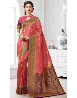 Ethnic Wear Pink Banarasi Silk Saree  - 2226