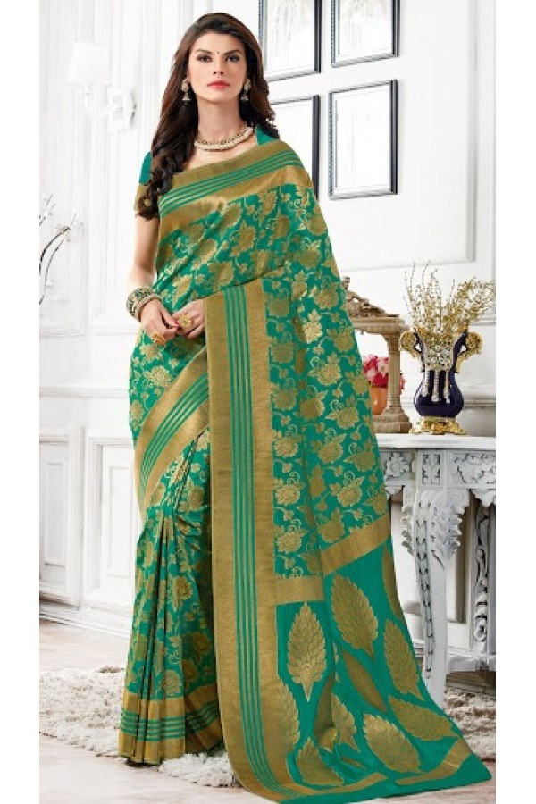 Designer Green Banarasi Silk Saree  - 2227