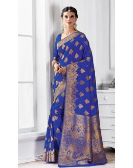 Ethnic Wear Blue Banarasi Silk Saree  - 2233