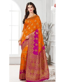 Ethnic Wear Orange & Pink Banarasi Silk Saree  - 2234