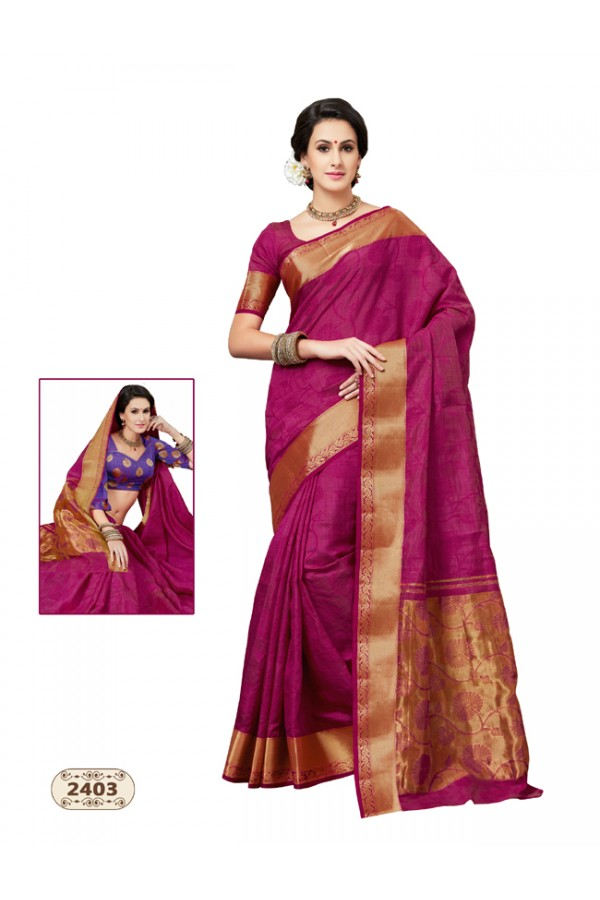 Magenta Colour Chiffon Cotton Silk Saree  - AASHIKA-2403