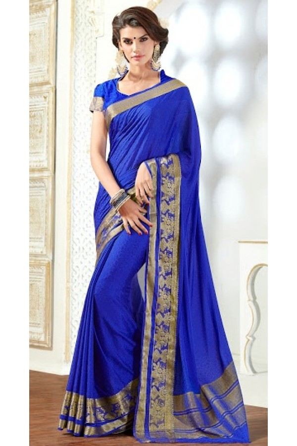 Party Wear Blue Jacquard Saree  - 2504