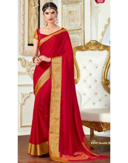 Ethnic Wear Red Jacquard Saree  - 2505