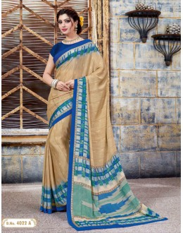 Party Wear Beige Crepe Silk Saree  - 4022-A