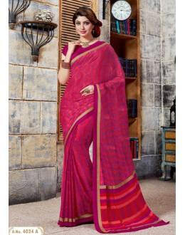 Ethnic Wear Pink Crepe Silk Saree  - 4024-A
