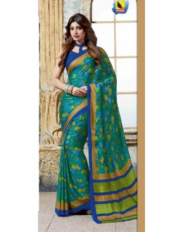 Casual Wear Green Crepe Silk Saree  - 4026-B