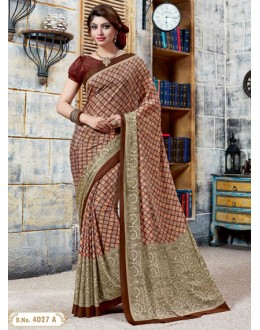 Ethnic Wear Brown Crepe Silk Saree  - 4027-A