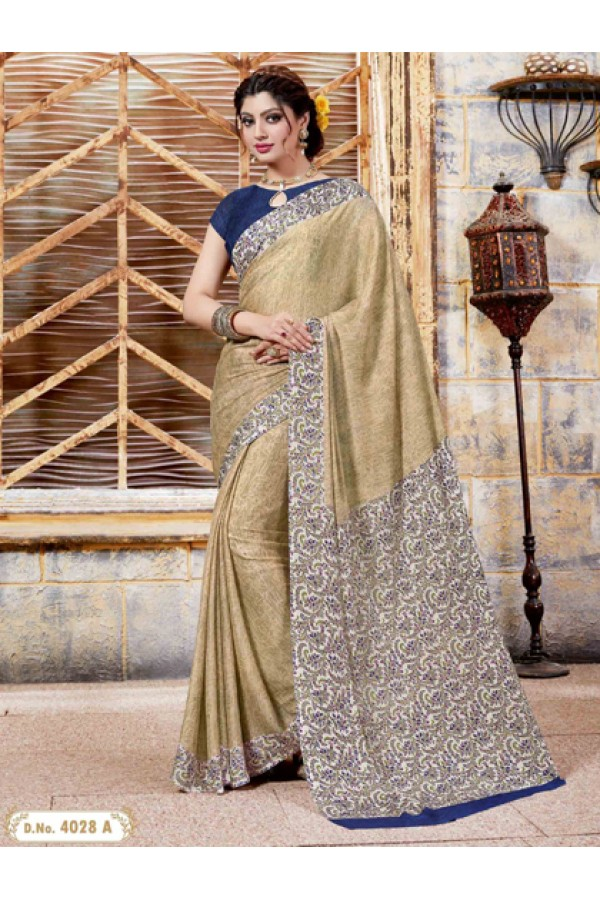 Party Wear Beige Crepe Silk Saree  - 4028-A