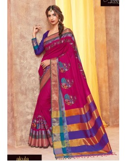 Cotton Polyester Blended Silk Pink Saree - akula