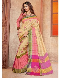 Party Wear Cream & Pink Saree - ananta