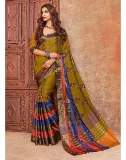 Party Wear Green Embroidery Saree - kalira