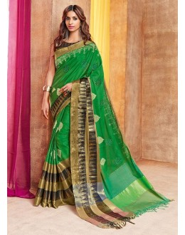 Cotton Polyester Blended Silk Green Saree - pazeb