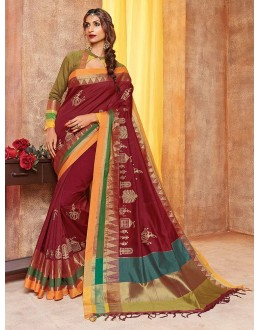 Cotton Polyester Blended Silk Maroon Saree - saarang