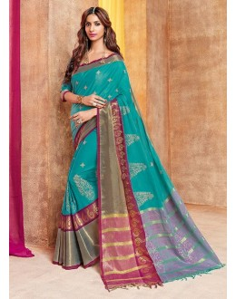 Festival Wear Rama Green Saree - zonira