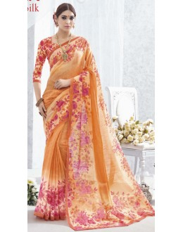 Party Wear Orange Luxury Silk Saree  - 1616