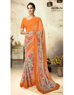 Casual Wear Multicolour Georgette Saree  - 1800