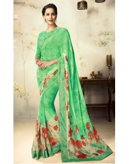 Ethnic Wear Green Georgette Saree  - 1801