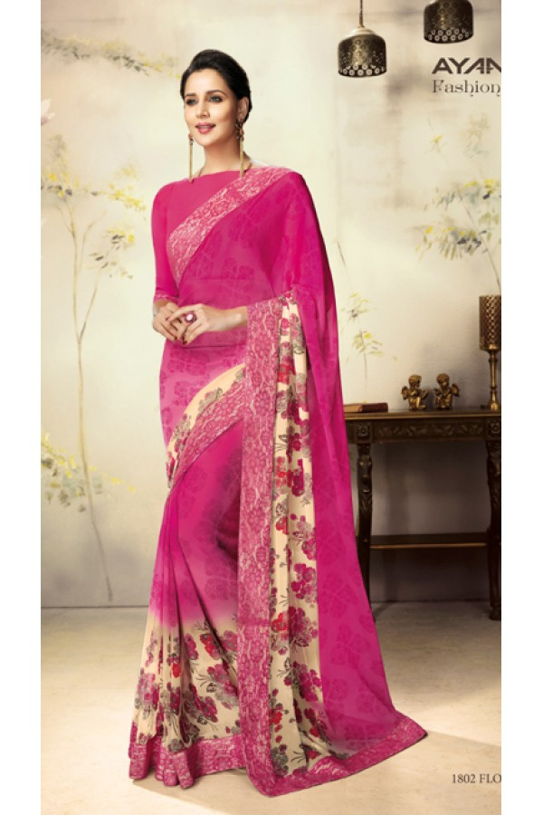 Casual Wear Pink Georgette Saree  - 1802