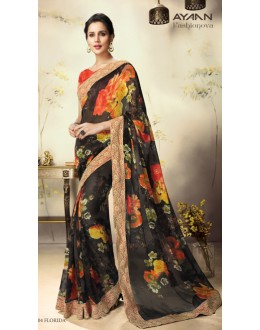Party Wear Black & Red Georgette Saree  - 1804