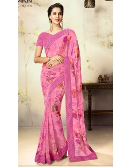 Festival Wear Pink Georgette Saree  - 1805