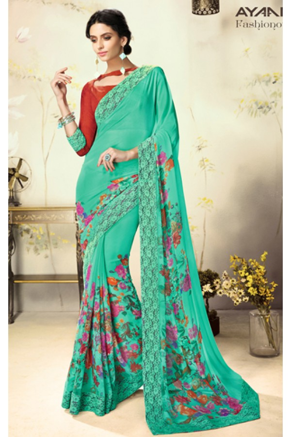 Party Wear Green & Red Georgette Saree  - 1808
