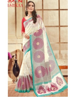 Party Wear Off White & Red Brasso Saree  - 1908