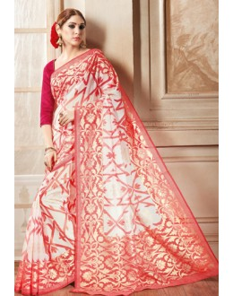 Ethnic Wear Red & White Brasso Saree  - 1909