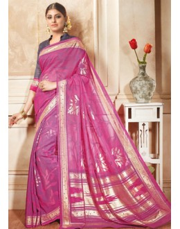 Ethnic Wear Pink Brasso Saree  - 1912
