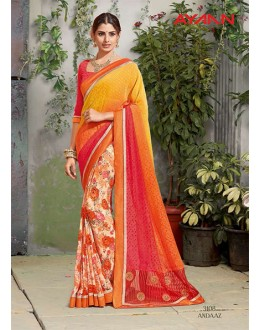Casual Wear Multi-Colour Brasso Saree  - 3108