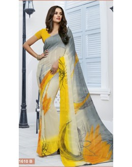 Casual Wear Yellow Marble Georgette Saree  - 11610-B