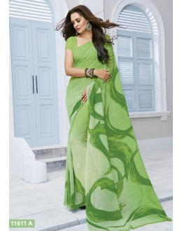 Ethnic Wear Green Marble Georgette Saree  - 11611-A