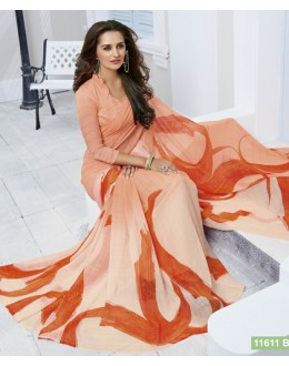 Festival Wear Light Peach Marble Georgette Saree  - 11611-B