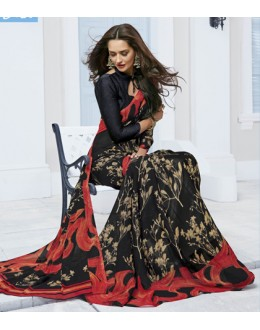 Festival Wear Black Marble Georgette Saree  - 11612-A