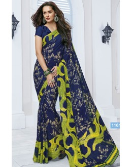 Ethnic Wear Blue Marble Georgette Saree  - 11612-B