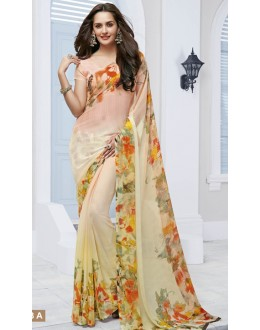 Party Wear Cream Marble Georgette Saree  - 11613-A