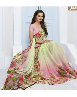 Festival Wear Light Green Marble Georgette Saree  - 11613-B