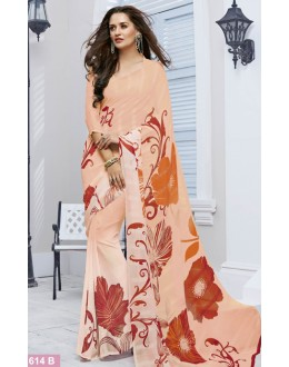 Festival Wear Light Peach Marble Georgette Saree  - 11614-B