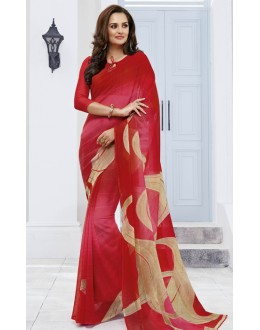 Casual Wear Red Marble Georgette Saree  - 11615-A