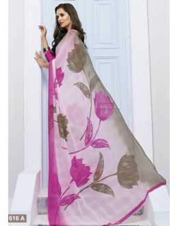 Ethnic Wear Light Pink Marble Georgette Saree  - 11616- A