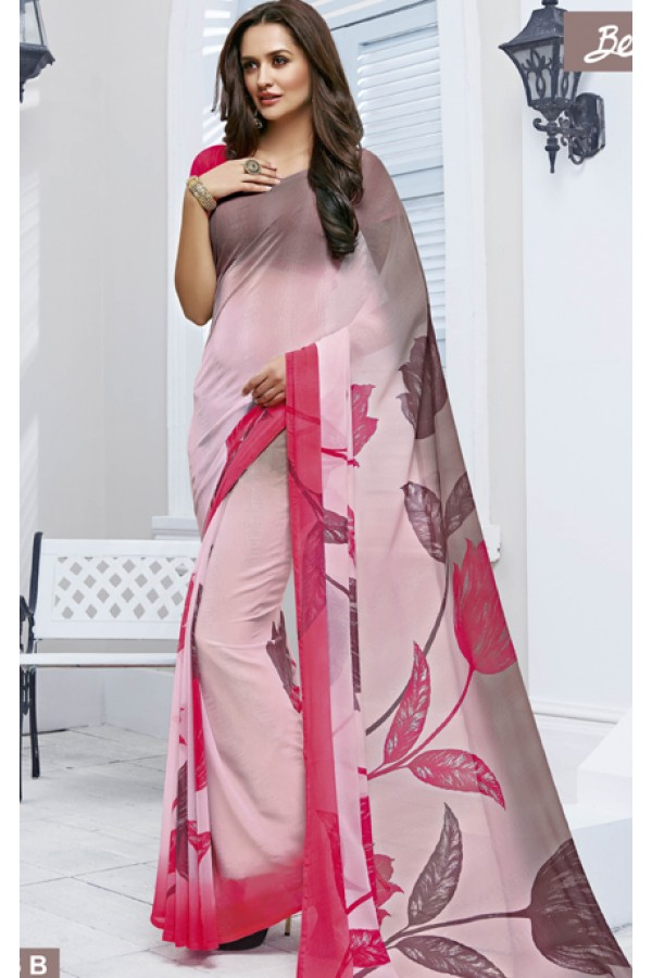 Festival Wear Dark Pink Marble Georgette Saree  - 11616-B