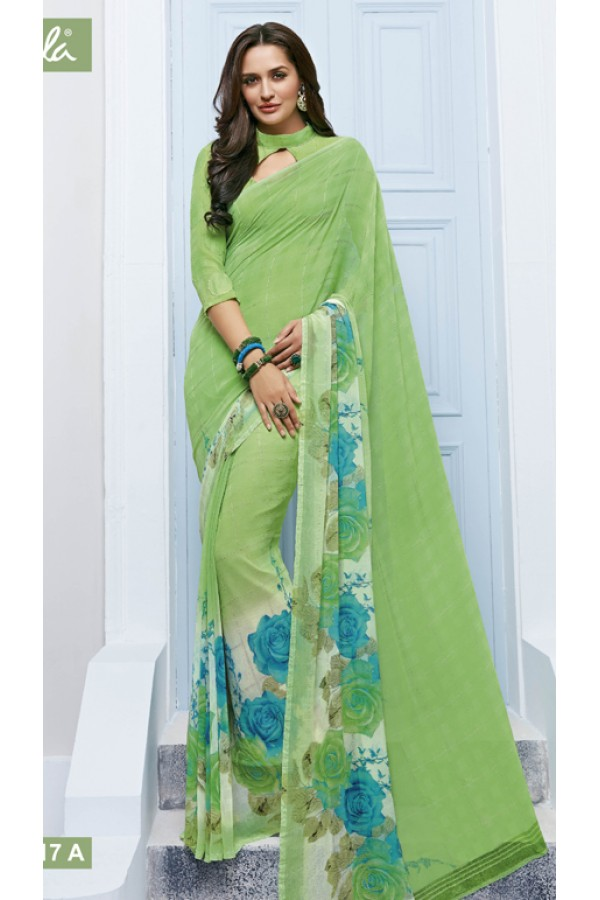 Ethnic Wear Green Marble Georgette Saree  - 11617-A