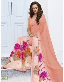 Festival Wear Light Peach Marble Georgette Saree  - 11617-B