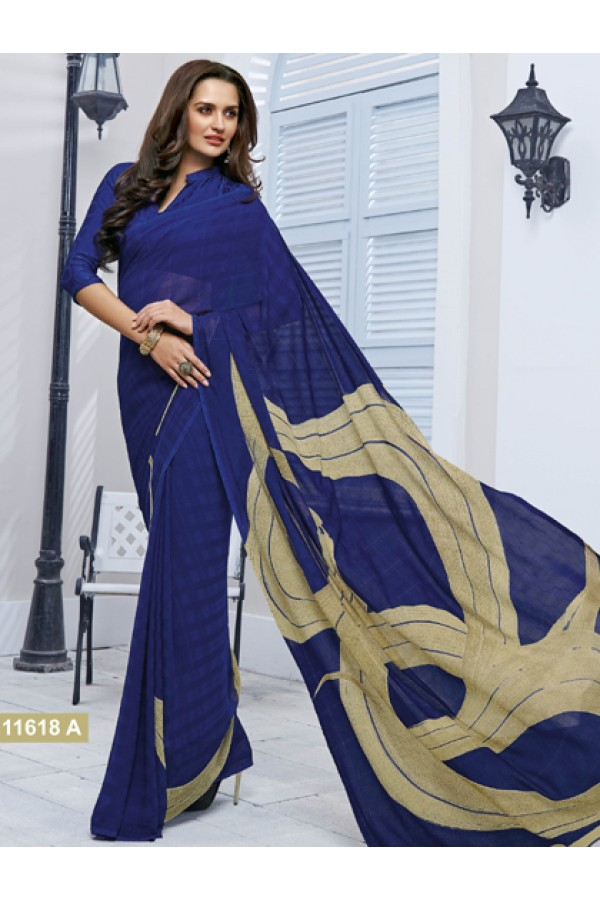 Ethnic Wear Blue Marble Georgette Saree  - 11618-A