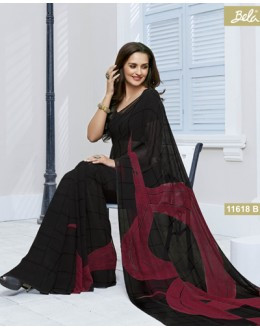 Casual Wear Black Marble Georgette Saree  - 11618-B